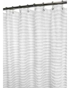 White 6 Ft. x 6 Ft. Restro Stripe Shower Curtain Ultra Spa by Park B. Smith RETS40-WHT