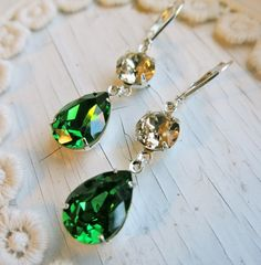 Champagne Earrings Emerald Earrings Bridal by CRystalCRush on Etsy