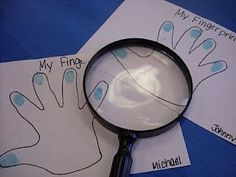 """Examine your fingerprints with a magnifying glass. Good station for Preschool STEAM story time for """"Get a closer look with magnification"""""""
