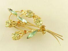 Vintage DeLizza Elster D&E Juliana Citrine Amber Green Rhinestone Flower Brooch #DeLizzaElsterDEJuliana