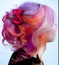 the hair that inspired my sunset hair  #pink #purple #orange #hair