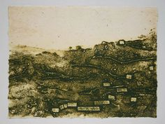 Original collograph on green by beamahan on Etsy, €45.00