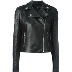 Versus perforated detailing biker jacket (28,220 MXN) ❤ liked on Polyvore featuring outerwear, jackets, black, perforated motorcycle jacket, motorcycle jacket, biker jackets, perforated jacket and rider jacket