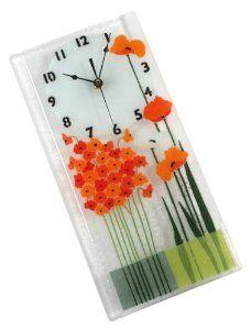 Peggy Karr Handcrafted Art Glass Flower Duet Wall Clock