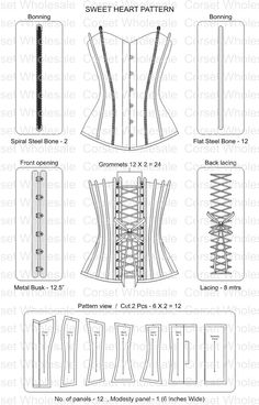 Corset pattern More sewing design fabric Diy Corset, Motif Corset, Corset Pattern, Sewing Hacks, Sewing Tutorials, Sewing Crafts, Sewing Projects, Diy Clothing, Sewing Clothes