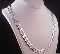 """MENS ITALY 925 STERLING SILVER DIAMOND CUT FLAT FIGARO LINK CHAIN NECKLACE 22""""  #AuthenticItalianTopQualityCraftsmanship #Chain"""