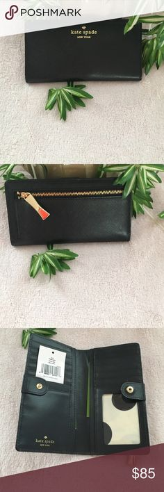 | NWT Kate Spade Stacy wallet | Stacy Cherry Lane in solid black Saffiano leather. Gold hardware with 12 cc spaces and a ID slot. Dollar compartments and a coin zipper area on the back. Logo on the front and inside. Care card enclosed. Snap closure. kate spade Bags Wallets