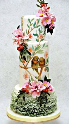 unusual painted wedding cake - birds and flowers