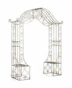 AN ENGLISH WROUGHT-IRON ROSE-ARCH PERGOLA PROBABLY MID-20TH CENTURY