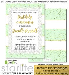 First Communion Invitation Girl Mint Gold Glitter Sparkle  https://starliteprintables.indiemade.com/product/first-communion-invitation-girl-mint-gold-glitter-sparkle