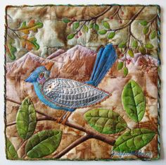 Judy Coates Perez: Lark Quilt It Contest Take These Broken Wings x It has a background of used tea bags gel mediumed to fabric. Used Tea Bags, Tea Bag Art, Bird Applique, Textile Fiber Art, Thread Painting, Book Quilt, Quilt Art, Textiles, Little Birds