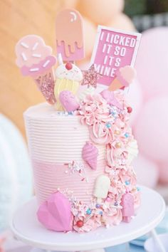 Take a look at this gorgeous Ice-Cream birthday party! The birthday cake will blow you away! See more party ideas and share yours at CatchMyParty.com