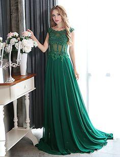 Formal Evening Dress - Dark Green Plus Sizes A-line Scoop Court Train Chiffon 2015 – $58.99