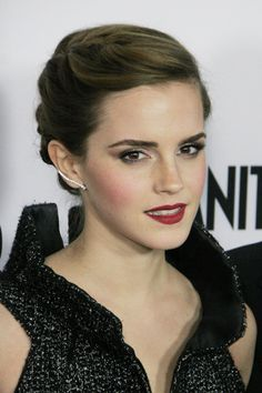 Emma Watson braided updo AND THE EYEBROWSSSS