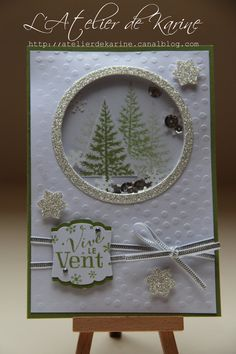 Stampin' Up! ... handmade Christmas card ... shaker card with tiny snowflakes and sequins  ... luv the layered trees inside and the silver glimmer paper frame ... great card!