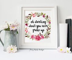 Taylor Swift Print Floral Bohemian Print by FancyPrintsBoutique