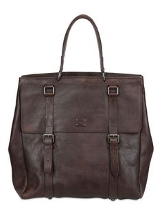 1bdbd17c0ba0 DOLCE  amp  GABBANA - WASHED LEATHER SHOPPING BAG - LUISAVIAROMA - FLORENCE  Leather Handle
