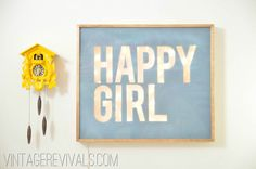 Dig this light up HAPPY GIRL sign. @ link, there's 100 Creative DIY Wall Art Ideas to Decorate Your Space via Brit + Co.