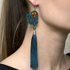 Green tassel earrings Green fringe earrings Soutache Tassel Jewelry by AMdesignSoutache