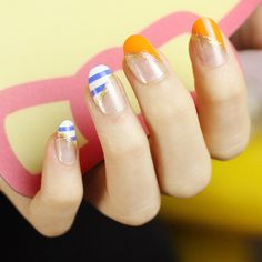 Aliexpress.com : Buy Color block round toe fashion french nail art false nail finished products bride nail art patch on Jessie's shop. $6.70
