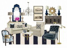 E Design Board Navy Blue Living room by DecoratingBeautiful, $150.00