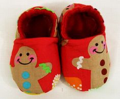 Baby  Christmas Shoes Red Gingerbread Man Soft Fabric by togs4tots