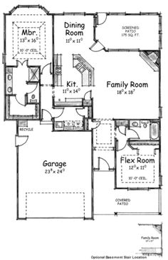 Traditional Style House Plan - 2 Beds 2 Baths 1463 Sq/Ft Plan #20-1600 - Houseplans.com