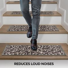 """Modern Scroll Non-Slip Stair Treads - On Sale - Overstock - 29256031 - 8.6"""" x 26"""" (Set of 13) Rug Over Carpet, Polyester Rugs, Stair Treads, Paisley Design, Decorating Small Spaces, Diy Home Improvement, Room Rugs, Home Decor Trends"""