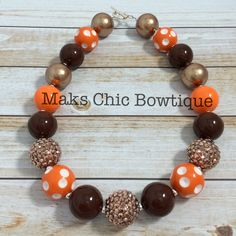 Children's Brown, Gold, Copper, Orange and White Polkadot chunky necklace, kids Fall chunky necklace, Thanksgiving chunky necklace by MaksChicBowtique on Etsy
