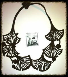 Ginkgo  Reversible Leather Necklace by FloranceandLeah on Etsy, $40.00