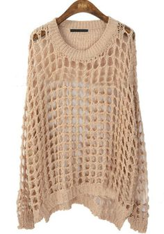 Apricot Long Sleeve Hollow Loose Pullovers Sweater