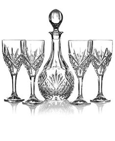Godinger Stemware, Dublin Wine 5 Piece Set Wine Set - Shop All Glassware & Stemware - Dining & Entertaining - Macy's Vases, Crystal Glassware, Crystal Decanter, Waterford Crystal, Whiskey Decanter, Wine Decor, In Vino Veritas, Cut Glass, Bauhaus