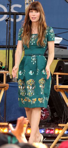 "Jessica Biel Appearing On ""Good Morning America"". LOVE that dress."