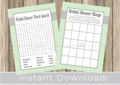 BRIDAL Shower Games Set /  Bingo and Word Search cards / printable / mint and gray / by PrimoPrintables