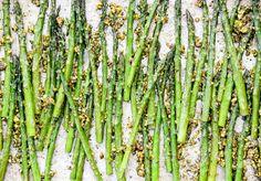 Roasted Asparagus with Pistachio-Mint Pesto