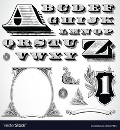 Vintage traced woodcut vector image on VectorStock Tattoo Lettering Design, Graffiti Lettering Fonts, Lettering Styles, Typography Fonts, Care Bear Tattoos, Art Tattoos, Tattoo Fonts Alphabet, Money Logo, Money Tattoo