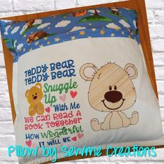 Teddy Bear Snuggle Up And Read Bear Wispy Filled Reading Pillow Embroidery, Embroidery Monogram, Machine Embroidery Applique, Book Pillow, Reading Pillow, Monogram Fonts, Vinyl Designs, Craft Fairs, Snuggles