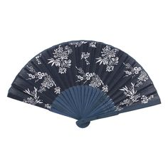 Unique Bargains Wedding Party Flower Pattern Bamboo (Green) Frame Fabric Cover Folding Hand Fan Blue