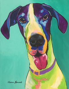 Funny Giant Great Dane Custom Dog Pop Art Colorful Pet Portrait with His Tongue Hanging Out Dog Pop Art, Dog Art, Colorful Wallpaper, Colorful Backgrounds, Dog Portraits, Great Dane Dogs, Custom Art, Canvas Prints, Art Prints