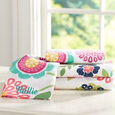 Cute bedroom sheets from PBteen. Can be personalized with your name on the pillow case.