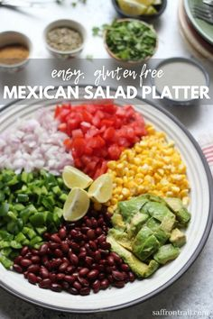 Get the recipe for this easy to put together Rainbow Mexican Salad Platter - naturally glutenfree and easily made Make it a part of your Vegetarian Mexican Menu for a party to add that wow factor. Mexican Menu, Mexican Salads, Vegetarian Mexican, Mexican Party, Healthy Salad Recipes, Veggie Recipes, Indian Food Recipes, Vegetarian Recipes, Cheap Recipes