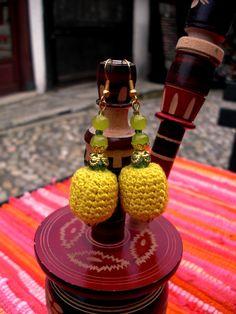 Crochet Yellow Earrings / Yellow Green Earrings/ Spring by Nimmet