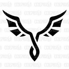 Abstract Cartoon of Black Bat Wings and Bird Icon stock illustration