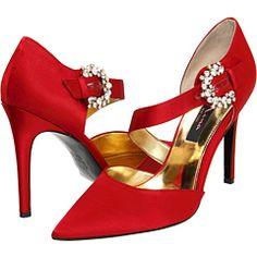 Dancing shoes - Nina's bright red satin with crystal side buttons.