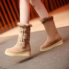 Women's Shoes Round Toe Wedge Heel Mid-Calf Boots with Slip-on Buckle More Colors available – USD $ 24.99