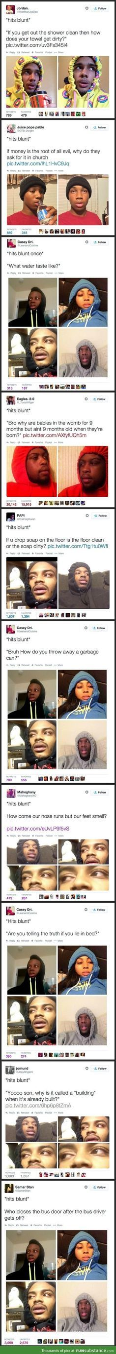 *hits blunt* Yo, why they saying money don't grow on trees.it's made of paper Lol Funny Shit, Funny Posts, The Funny, Funny Memes, Hilarious, Funny Stuff, Lol, 4 Panel Life, Have A Laugh