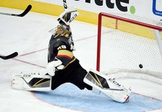 LAS VEGAS, NV - SEPTEMBER 28: Goalie Marc-Andre Fleury #29 of the Vegas Golden Knights reaches to block the puck that scored during a preseason game against the Colorado Avalanche at T-Mobile Arena on September 28, 2017 in Las Vegas, Nevada. Colorado won 4-2. (Photo by David Becker/NHLI via Getty Images)