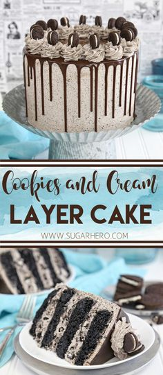 Cookies and Cream Cake - this epic cookies and cream layer cake will satisfy ALL of your chocolate cravings! It has rich devil's food cake plus buttercream with lots of cookie crumbs mixed right in. | From SugarHero.com  #sugarhero #cookiesandcream #oreocake #layercake #chocolatecake #cakefrosting