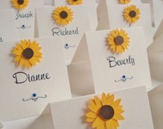 Personalised Handmade Sunflower Wedding Place Cards (Pack of 10)
