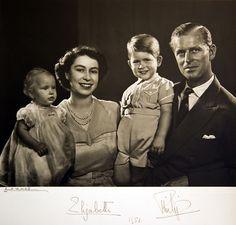 British Royal Family Princess Elizabeth, Prince Philip, Prince Charles and Princess Anne 1951